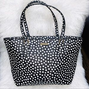 kate spade black white spotted tote purse